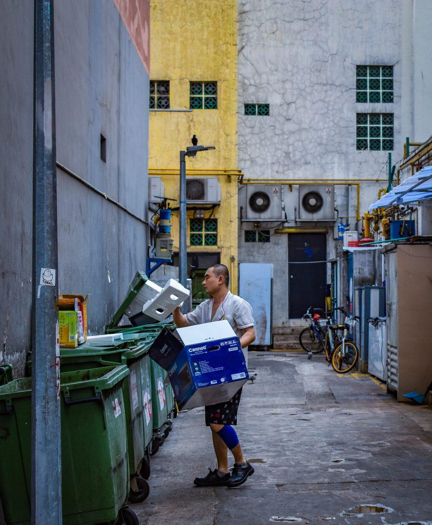 disposing of trash
